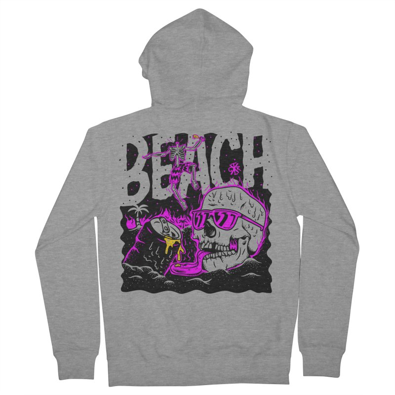 Beach Women's French Terry Zip-Up Hoody by controlx's Artist Shop