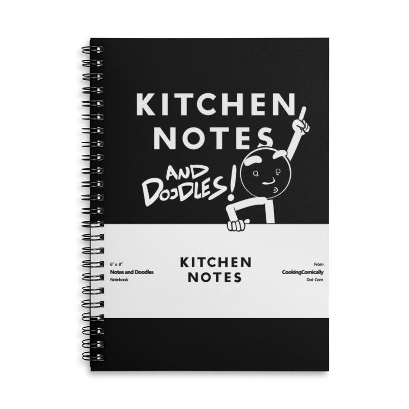 Kitchen Notes and Doodles Accessories Lined Spiral Notebook by Cooking Comically Stuff