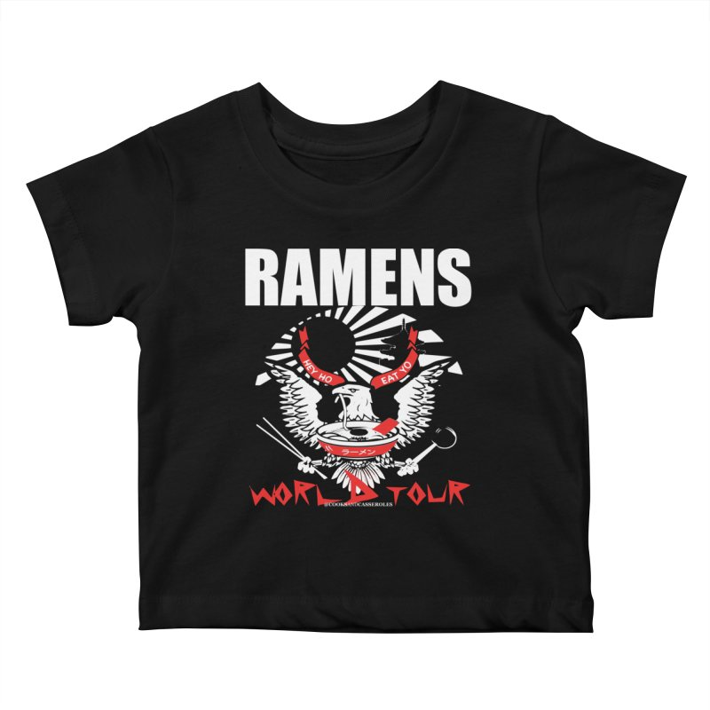 RAMENS WORLD TOUR (white) Kids Baby T-Shirt by RAMENS Shirts by Cooks and Casseroles