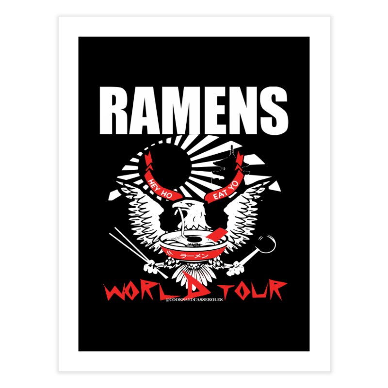RAMENS WORLD TOUR (white) Home Fine Art Print by RAMENS Shirts by Cooks and Casseroles