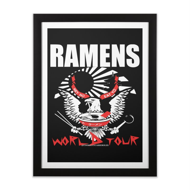 RAMENS WORLD TOUR (white) Home Framed Fine Art Print by RAMENS Shirts by Cooks and Casseroles