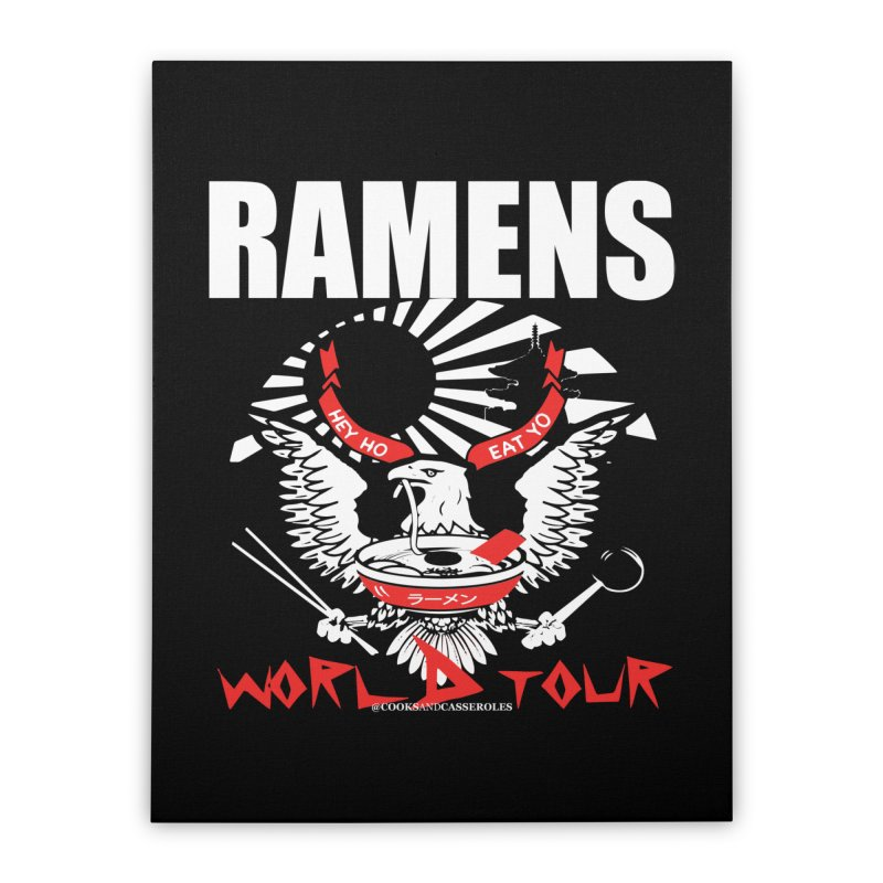 RAMENS WORLD TOUR (white) Home Stretched Canvas by RAMENS Shirts by Cooks and Casseroles
