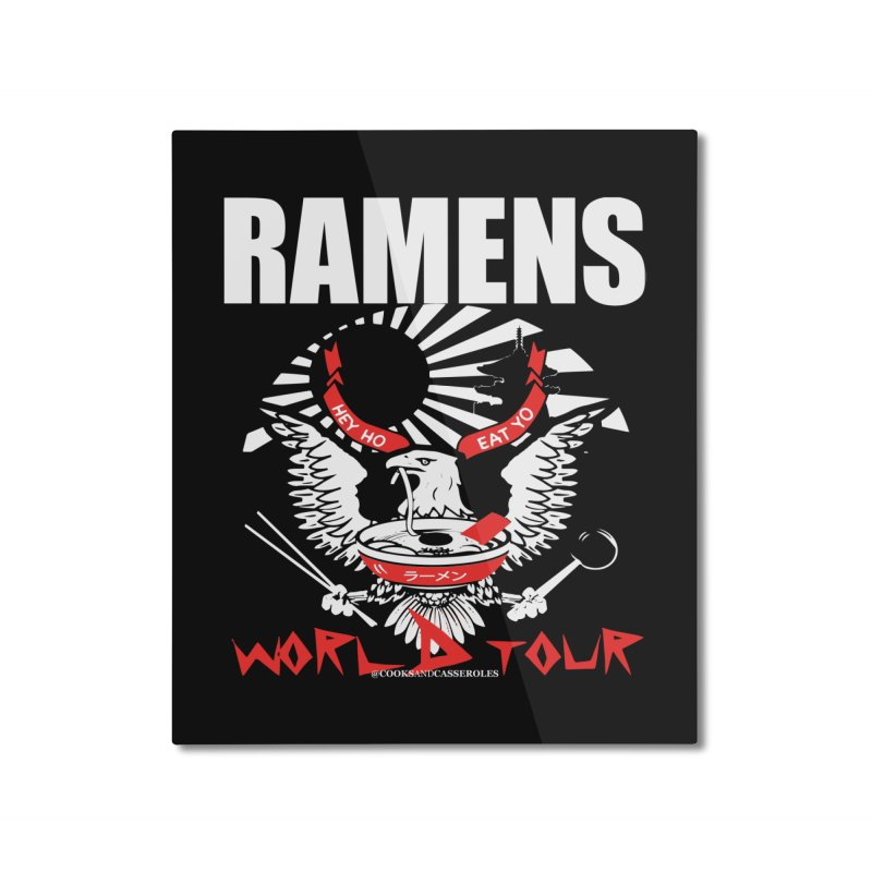 RAMENS WORLD TOUR (white) Home Mounted Aluminum Print by RAMENS Shirts by Cooks and Casseroles