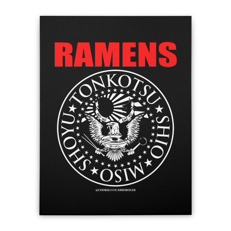 RAMENS RED Home Stretched Canvas by RAMENS Shirts by Cooks and Casseroles