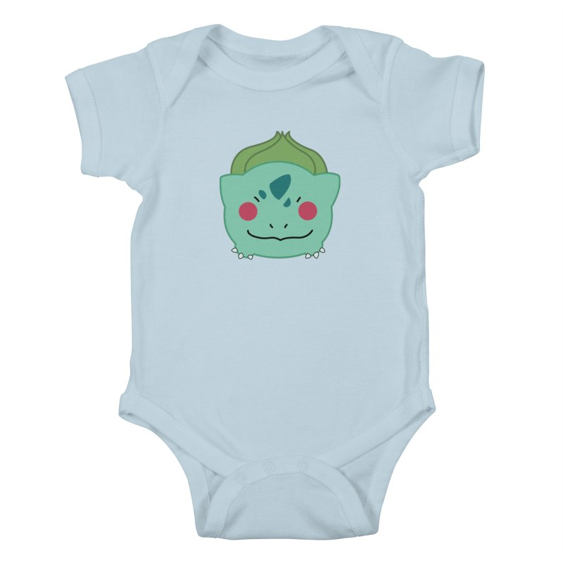 Poketsum Series - Bulbasaur in Kids Baby Bodysuit Baby Blue by Cool As A Cucumber