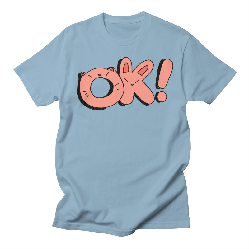 OK! in Women's Regular Unisex T-Shirt Light Blue by Cool Boy