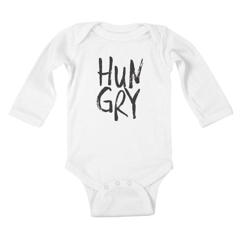 HUNGRY!  Kids Baby Longsleeve Bodysuit by Cordelia Denise