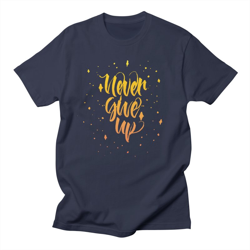 Never Give Up in Men's T-Shirt Navy by Cordelia Denise