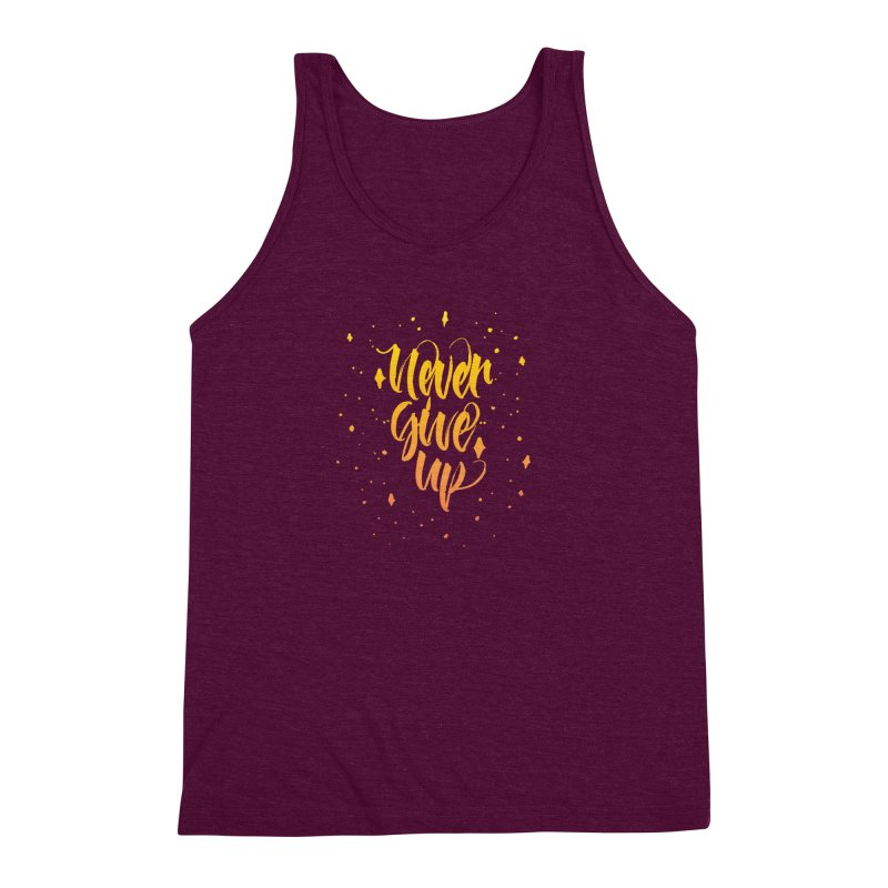 Never Give Up Men's Triblend Tank by Cordelia Denise
