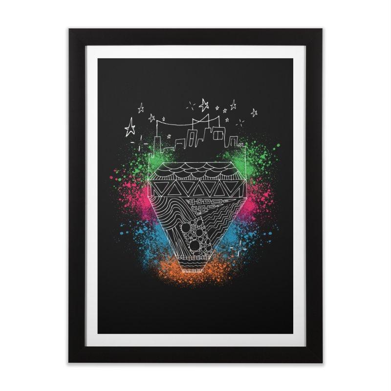 Bling City-White in Framed Fine Art Print Black by Cordelia Denise