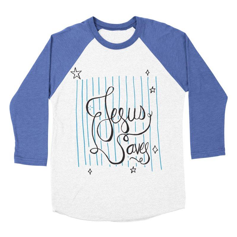 Jesus Saves-Black Men's Baseball Triblend T-Shirt by Cordelia Denise