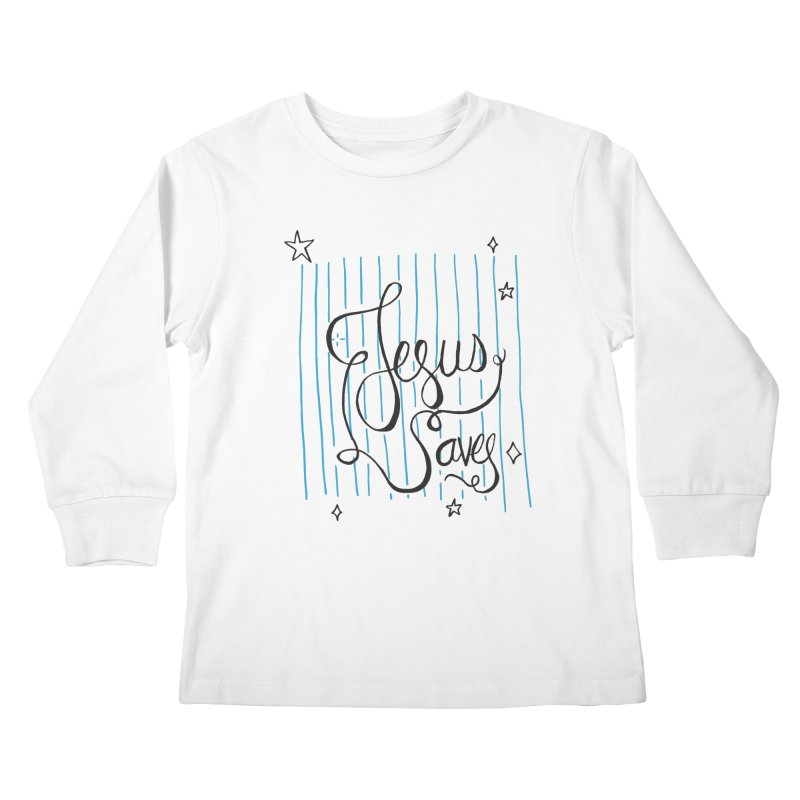 Jesus Saves-Black Kids Longsleeve T-Shirt by Cordelia Denise