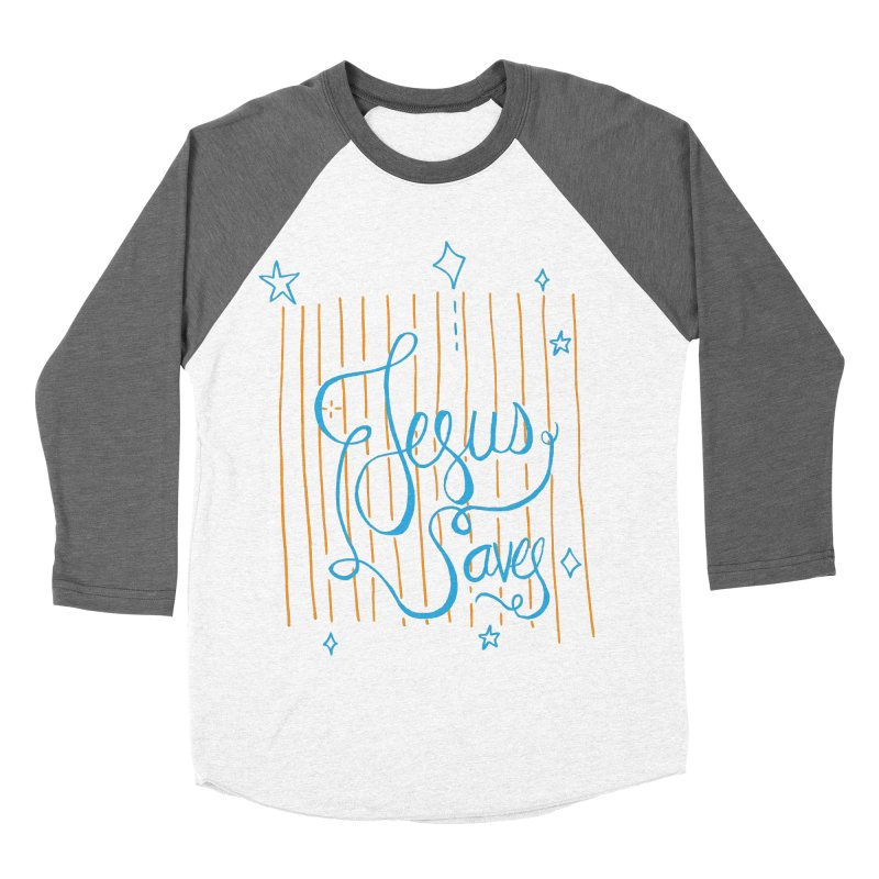 Jesus Saves-Blue Men's Baseball Triblend T-Shirt by Cordelia Denise