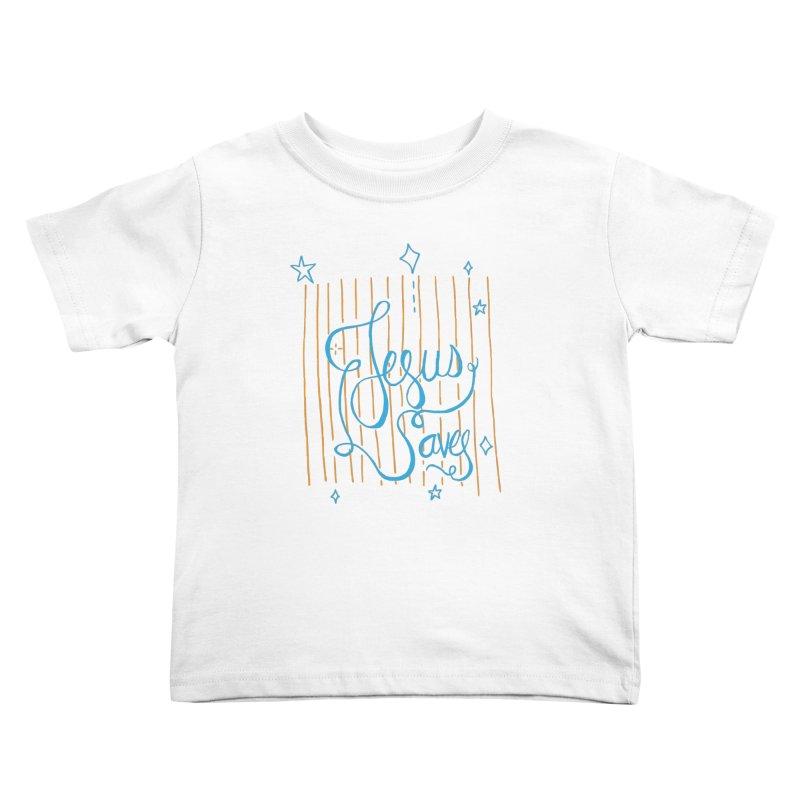 Jesus Saves-Blue Kids Toddler T-Shirt by Cordelia Denise