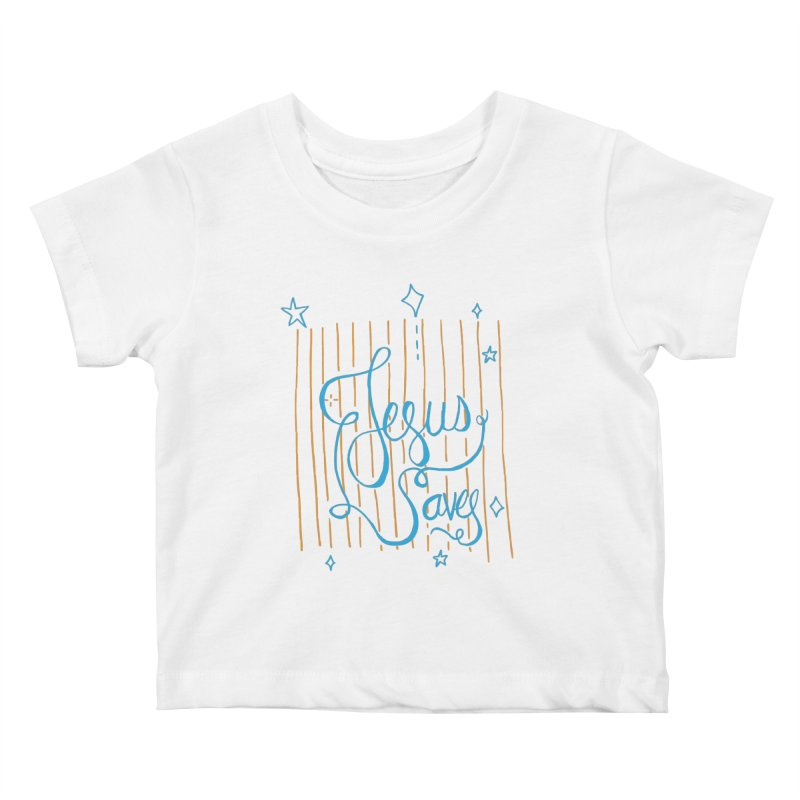 Jesus Saves-Blue Kids Baby T-Shirt by Cordelia Denise