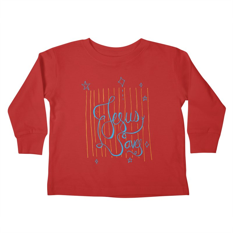 Jesus Saves-Blue Kids Toddler Longsleeve T-Shirt by Cordelia Denise