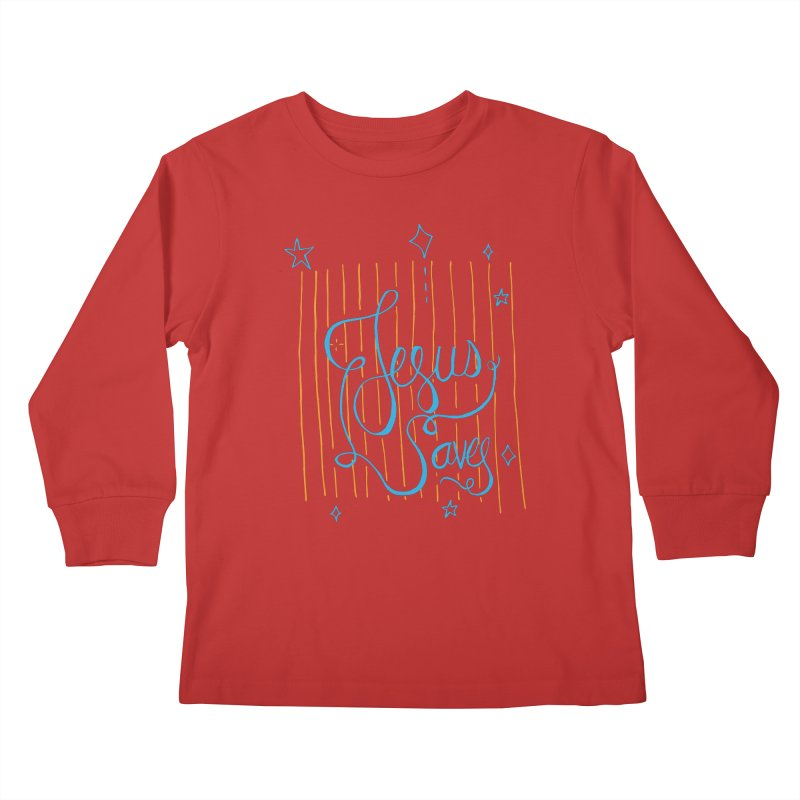 Jesus Saves-Blue Kids Longsleeve T-Shirt by Cordelia Denise