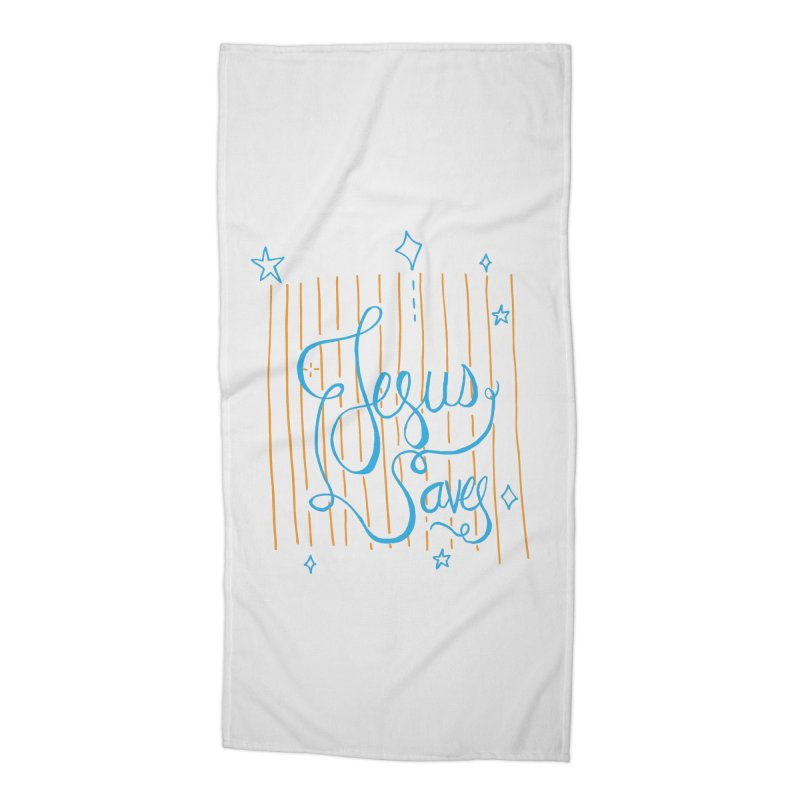 Jesus Saves-Blue Accessories Beach Towel by Cordelia Denise