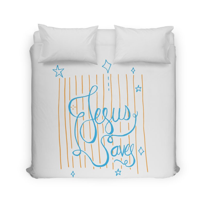 Jesus Saves-Blue Home Duvet by Cordelia Denise