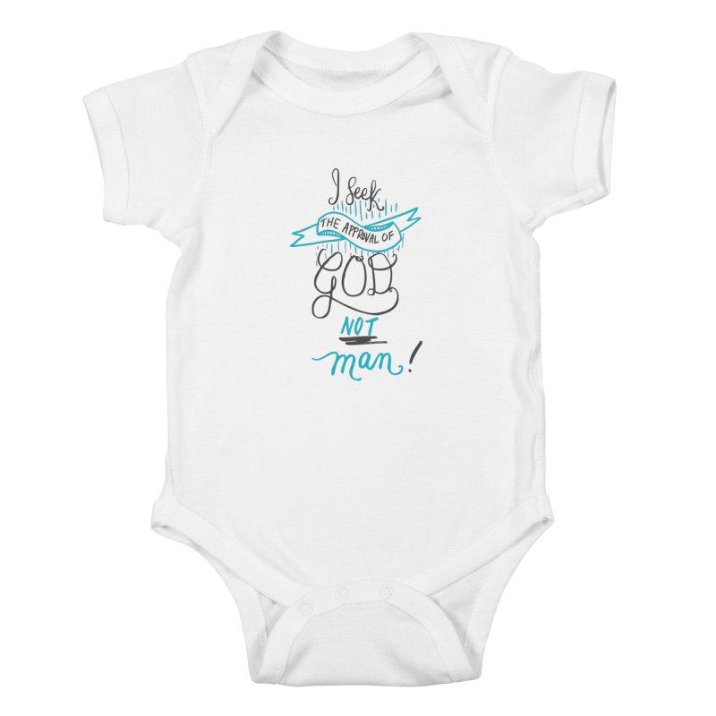God's Approval-Blue Kids Baby Bodysuit by Cordelia Denise