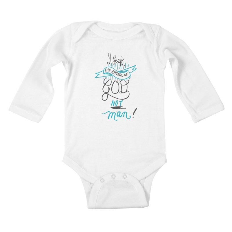 God's Approval-Blue Kids Baby Longsleeve Bodysuit by Cordelia Denise