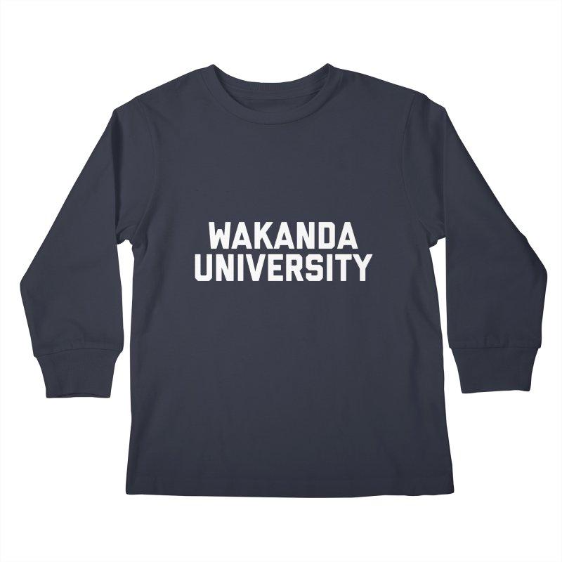 WAKANDA UNIVERSITY Kids Longsleeve T-Shirt by Coreyography