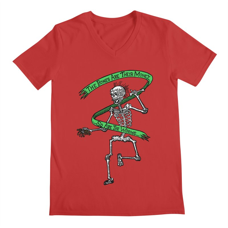 The Night the Skeletons Came to Life Men's Regular V-Neck by The Corey Press