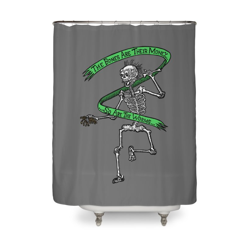 The Night the Skeletons Came to Life Home Shower Curtain by The Corey Press