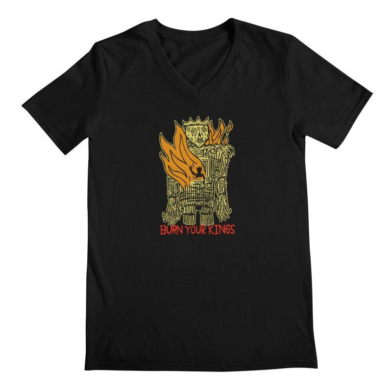 Burn Your Kings Men's Regular V-Neck by The Corey Press