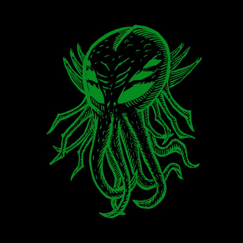 Cthulhu Icon - Green Ink by The Corey Press