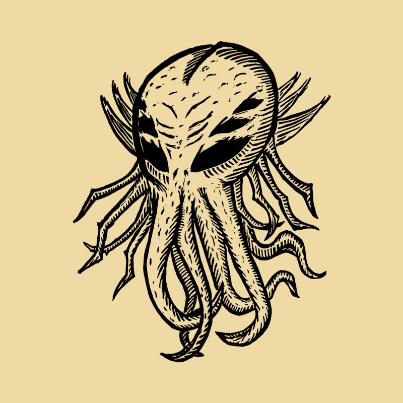 Cthulhu Icon - Black Ink by The Corey Press