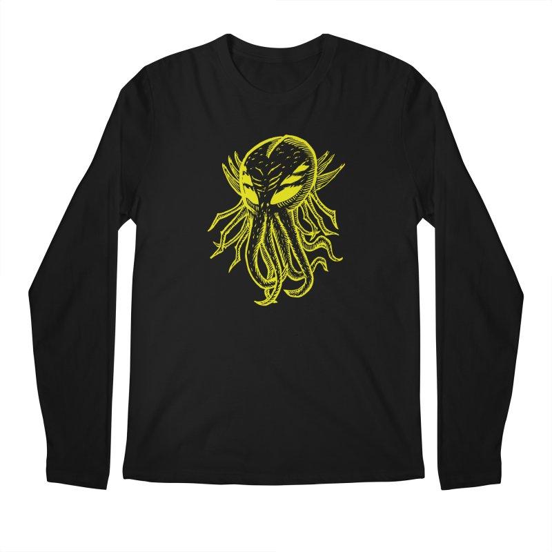 Cthulhu Icon - Yellow Ink Men's Regular Longsleeve T-Shirt by The Corey Press