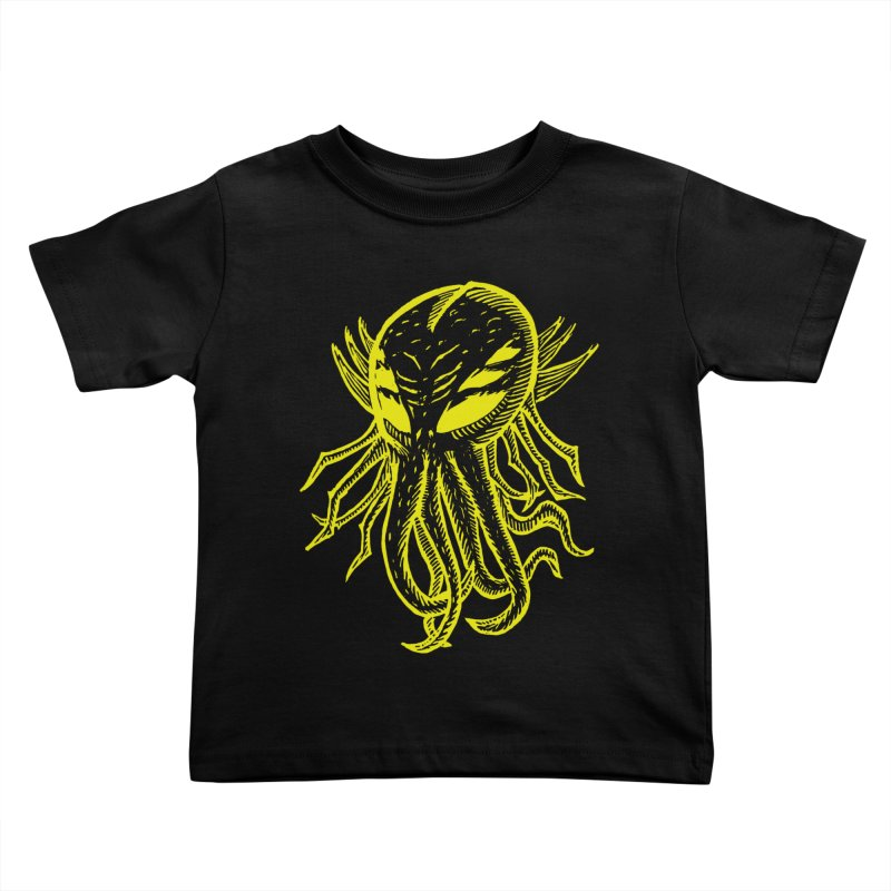 Cthulhu Icon - Yellow Ink Kids Toddler T-Shirt by The Corey Press