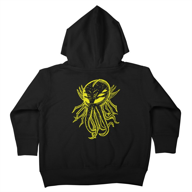 Cthulhu Icon - Yellow Ink Kids Toddler Zip-Up Hoody by The Corey Press