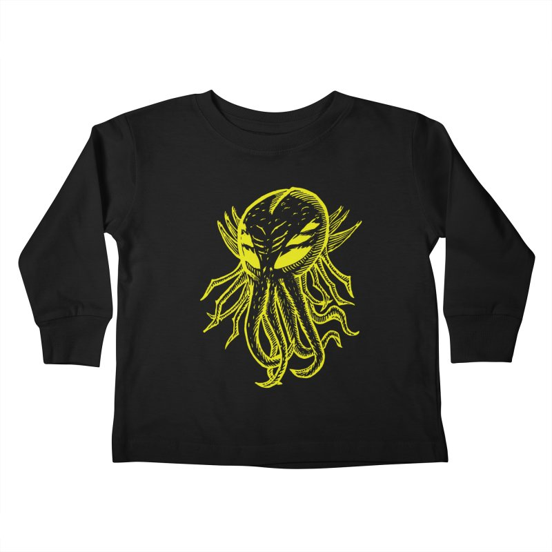Cthulhu Icon - Yellow Ink Kids Toddler Longsleeve T-Shirt by The Corey Press