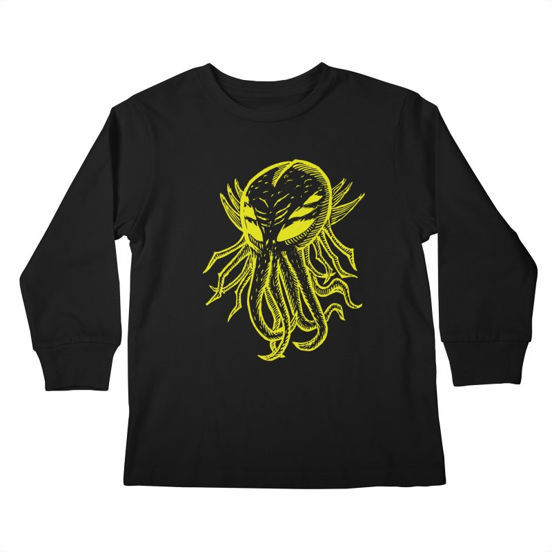Cthulhu Icon - Yellow Ink Kids Longsleeve T-Shirt by The Corey Press