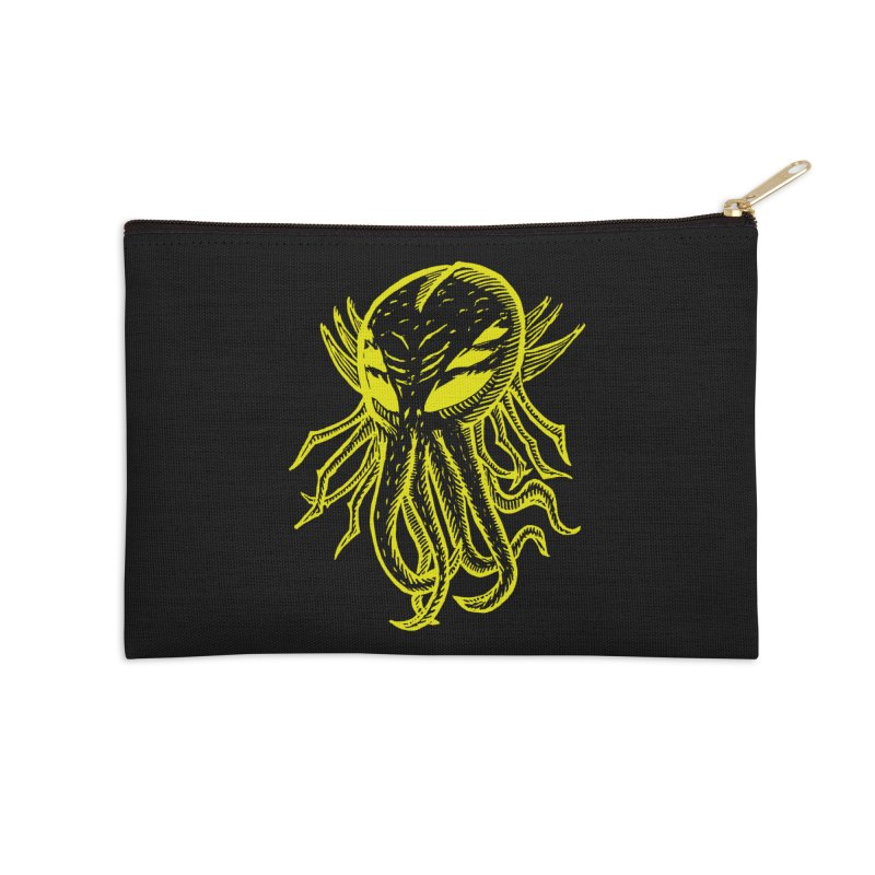 Cthulhu Icon - Yellow Ink Accessories Zip Pouch by The Corey Press