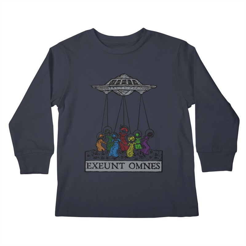 Exeunt Omnes Kids Longsleeve T-Shirt by The Corey Press
