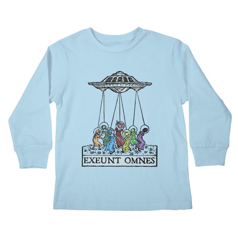 Exeunt Omnes Kids Longsleeve T-Shirt by The Corey Press