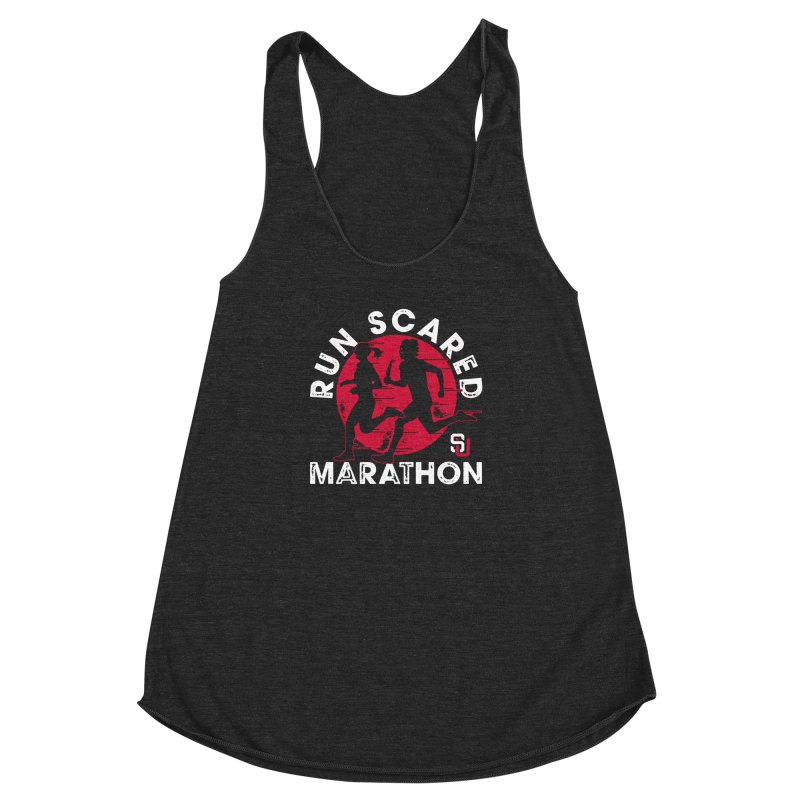 Run Scared Marathon Women's Racerback Triblend Tank by Scare U
