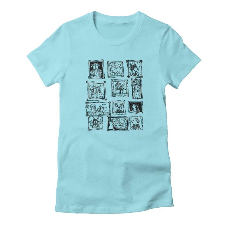 Corgi Portraits Women's Fitted T-Shirt by Corgi Tales Books