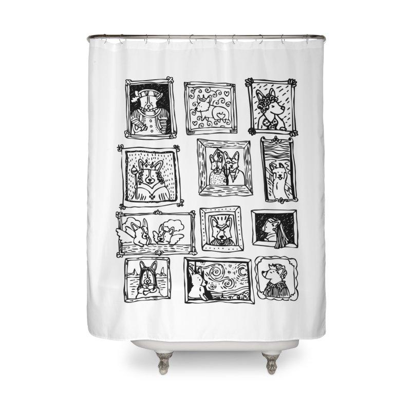 Corgi Portraits Home Shower Curtain by Corgi Tales Books