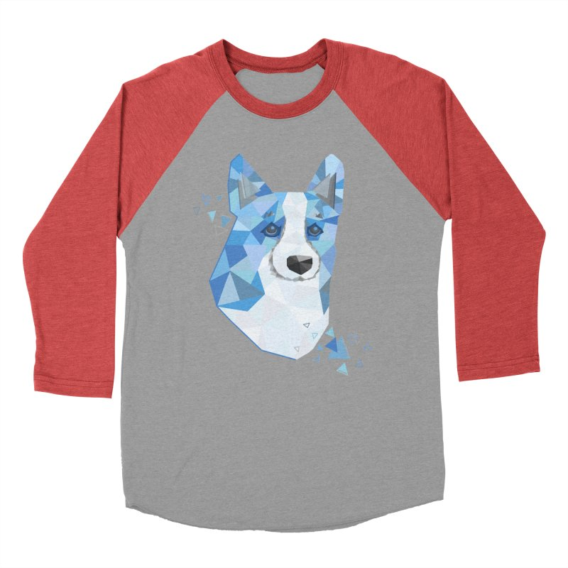 Geometric Corgi Men's Baseball Triblend Longsleeve T-Shirt by Corgi Tales Books