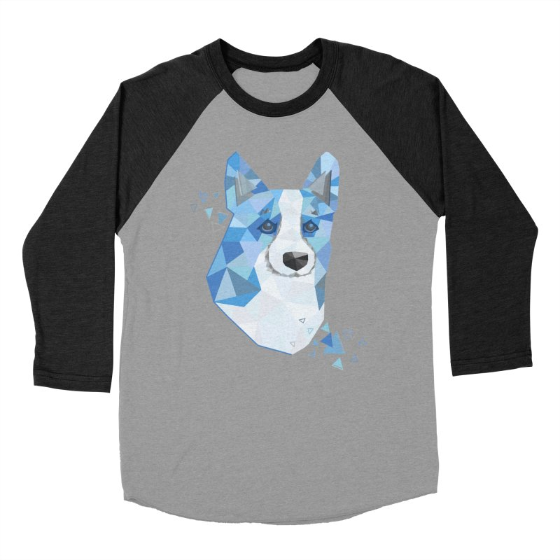 Geometric Corgi Men's Baseball Triblend Longsleeve T-Shirt by Corgi Tales Books