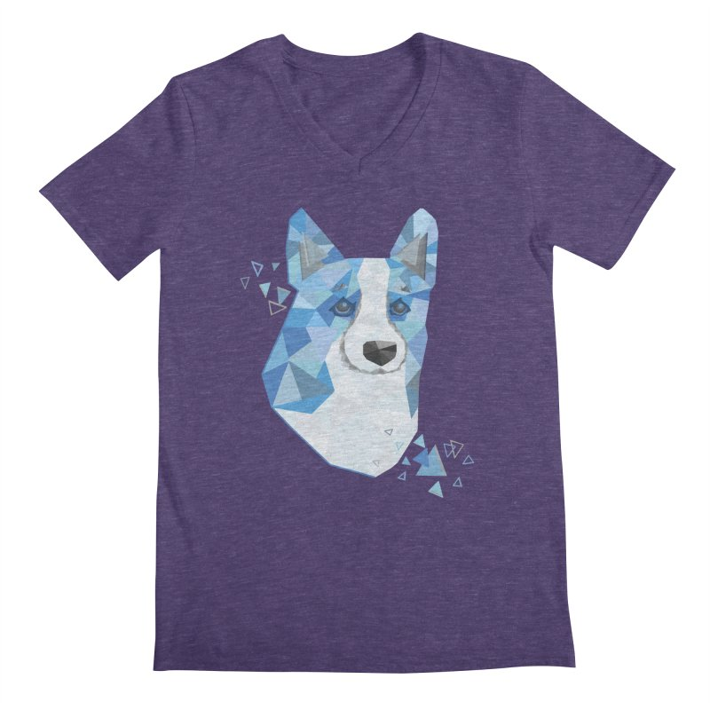 Geometric Corgi Men's Regular V-Neck by Corgi Tales Books