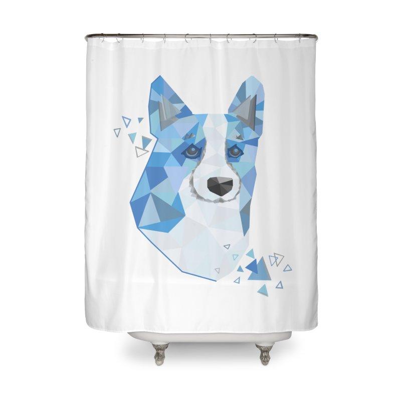 Geometric Corgi Home Shower Curtain by Corgi Tales Books