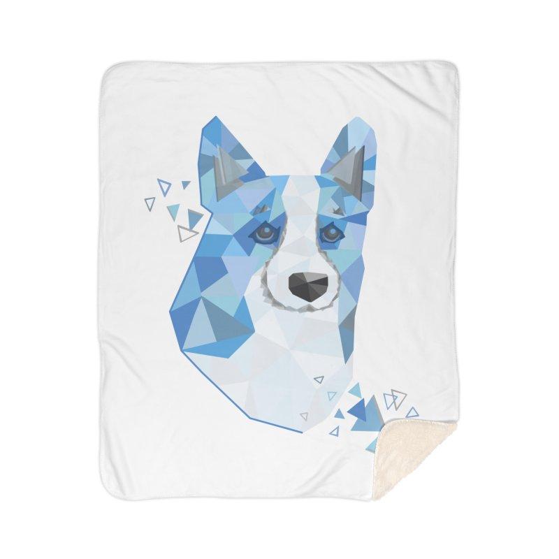 Geometric Corgi Home Sherpa Blanket Blanket by Corgi Tales Books