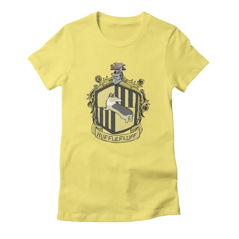 PotterCorgs - HuffleFluff Women's Fitted T-Shirt by Corgi Tales Books
