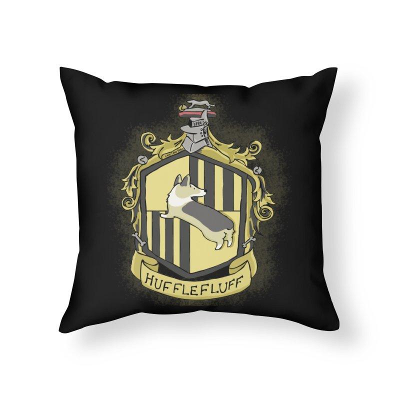 PotterCorgs - HuffleFluff Home Throw Pillow by Corgi Tales Books