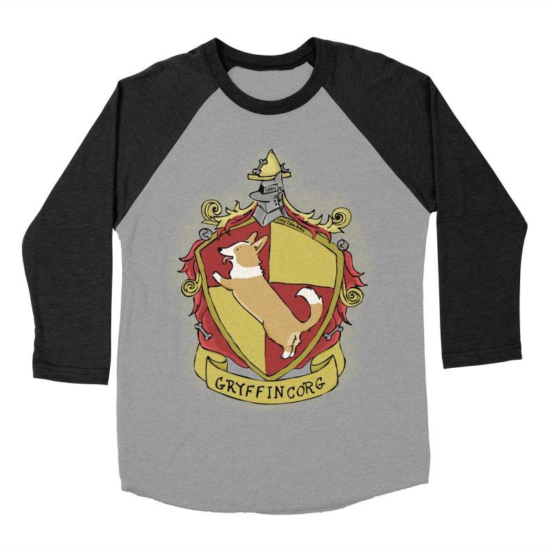 PotterCorgs - GryffinCorg Men's Baseball Triblend Longsleeve T-Shirt by Corgi Tales Books